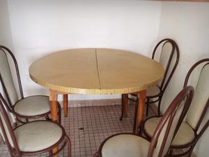 Mesa redonda de mimbre con 5 sillas posot class for Sillas para mesa redonda