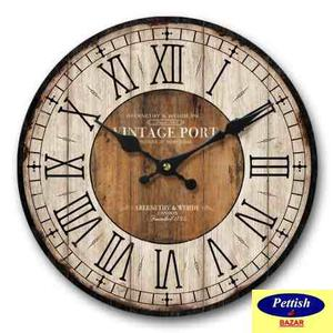 Reloj De Pared Madera Antiguo 30cm Pettish