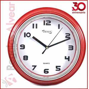 Reloj De Pared Ornet Rojo Redondo Circular 23cm