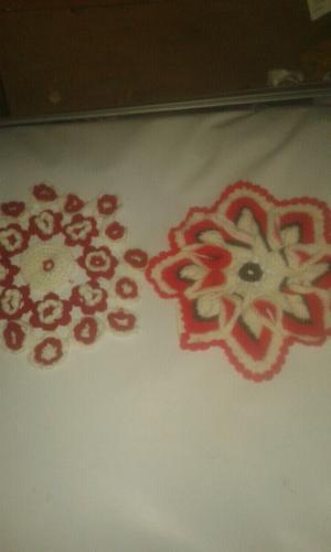 Carpetas para centro de mesa de hilo al croche.