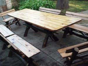 Mesa r stica para quincho en madera 6 bancos posot class - Mesa con bancos ...