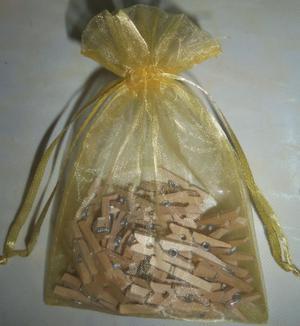 Mini Broches Pinza De Madera Natural Pack X 100