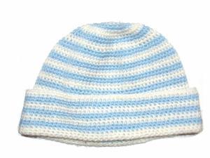 Gorro Lana Argentina Tejido Crochet Blanco Y Celeste