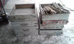 Cajones De Madera Antiguos 66 X 56 X 15 Cm Con Guias