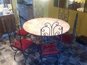 Sillon mesa y sillas hierro forjado posot class for Comedor hierro forjado