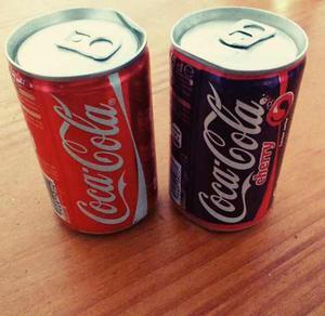 Lote 2 X Mini Latas Coca Cola Y Cherry Coca Cola Francia Nva