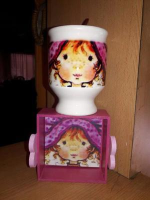 Bandejita con taza o mate de ceramica