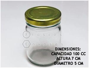 FRASCOS DE VIDRIO DE 100 CC CON TAPA METÁLICA. DULCES Y