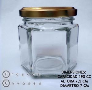 FRASCOS HEXAGONALES DE 190 CC CON TAPA METÁLICA. DULCES Y