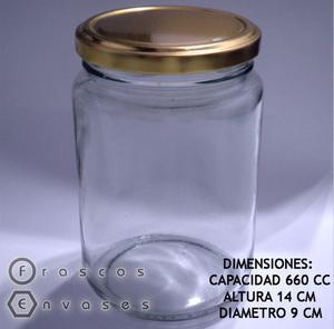 FRASCOS REDONDOS DE 660 CC CON TAPA METÁLICA. DULCES Y