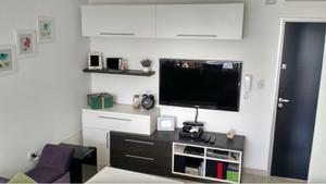 Mueble Rack Tv Con Estante Flotante Y Baulera -usado-