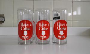 Vendo lote de 6 vasos originales con publicidad de coca cola