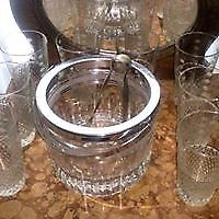 Hielera De Cristal, Tallada Con Virola Acero Y 8 Vasos