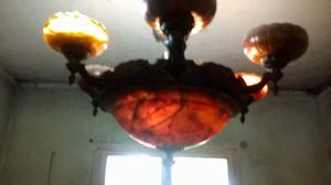araña de bronce y alabastro, pieza de coleccion para