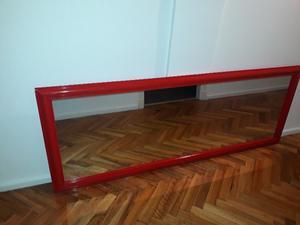 Espejo rectangular rojo