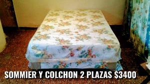 SOMMIER Y COLCHON RESORTES 2 PLAZAS