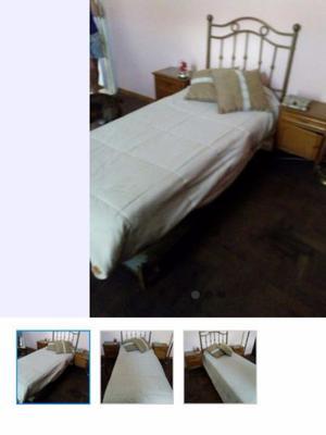 Sommier y colchón 1 plaza con respaldo de bronce