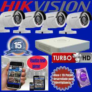 Kit Seguridad Dvr 8 + 4 Camaras Hikvision Idisco 1tb Cctv Ip