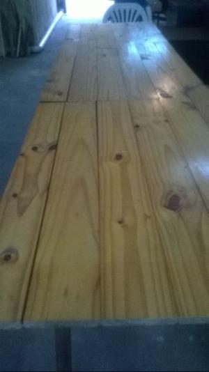 Vendo mesa tablón de pino barnizado 3,05 x 0,70 mts + otro