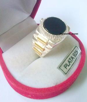 Anillo Hombre Plata Y Oro Con Onix Tipo Reloj!!!!hermoso