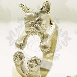 Anillos Plata 925 Y Oro Perro Bulldog Francés Ideal