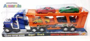 Camion Mosquito Grande A Friccion + 4 Autos Incluidos