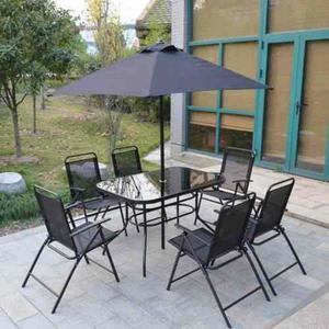 Juego De Jardin X 8 Piezas Laury Kosma Negro Mesa+som+sillas