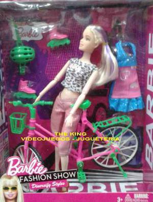 Muñeca Barbie Bicicleta Rollers + Accesorios - Articuladas