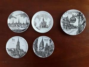 PPosavasos De Porcelana Alemana Con Grabados Antiguos