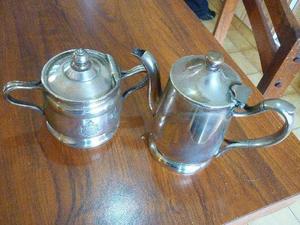 cafetera tetera azucarera de metal plateado sellado silver