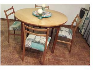 Antiguo juego de 6 sillas escandinavas retapizar posot class for Mesa redonda para 6 sillas