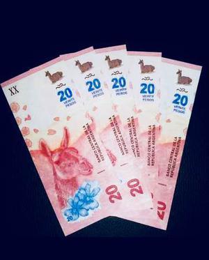 Nuevo Billete De 20 Pesos (guanaco) Series Bajas