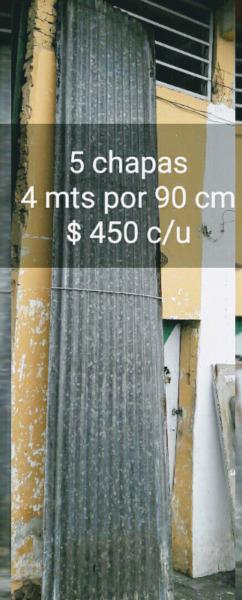 5 chapas de 4 mts por 90 cm