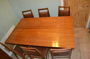 Mesa vidrio base 6 sillas madera rosario sur posot class for Juego de comedor de madera de 6 sillas