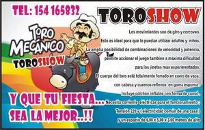 """ToroShow "" toro mecanico + cama elastica + metegol +"