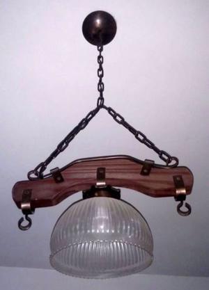Araña Rústica Campestre de madera y cadena negra
