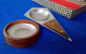 Colador de Té de Acero con incrustación de madera, nuevo