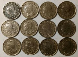 Lote De 12 Monedas De 5 Centavos Argentinas