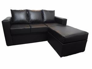 Sillon Sofa Esquinero 3 Cuerpos Ecocuero Negro