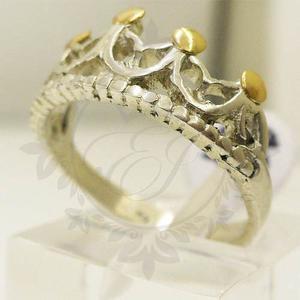 Anillos Plata 925 Y Oro Mujer Corona Reina Regalo Para Mamá