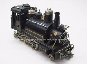 Locomotora Negra Antigua Tren De Chapa Metal Deco Colección