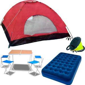 Carpa Iglu 4 Personas + Mesa Camping + Colchon 2 P + Infla