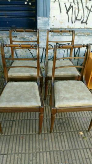 Cuatro sillas antiguas estilo inglés