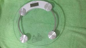 Balanza de vidrio digital redonda, pesa hasta 150 kilos