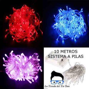 Guirnalda 100 Led 10mts A Pilas Rojo - Azul - Lila Exterior