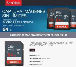 Memoria Sd 64gb Sandisk Ultra Clase 10