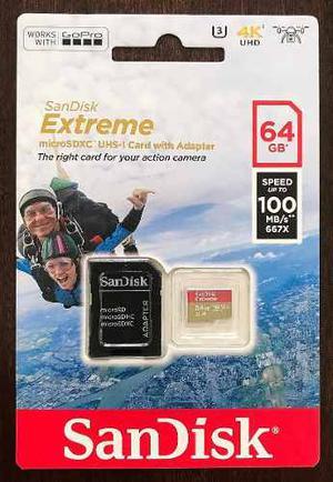 Sandisk Extreme Micro Sdhc 64gb 100mb/s U3 C10 V30. Go Pro!