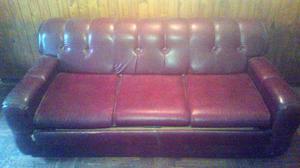 Sofá de Cuero de 3 Cuerpos con Cama de 2 Plazas