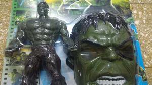Muñeco Hulk 30cm Con Luz Y Sonido + Mascara Hulk En Blister