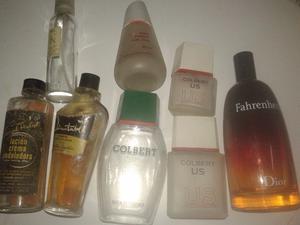 Frascos De Perfumes Otros Con Tapa antiguos (8frascos)